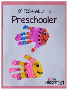 Handprint Fish Preschool - Printables for 1st Day of School