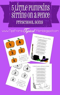5 Little Pumpkins Sitting on a Fence Preschool Song download and printables.  This is NOT the normal 5 little pumpkins rhyme, it's a song about a witch taking the pumpkins one by one to make pumpkin pie!  So cute!