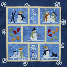 "Snow Wool Applique Quilt pattern, 36"" x 36"", at Cabin Creek Designs"