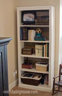 Pallet Backed Bookshelf Re-Do!  Totally doing this with Paige's bookshelf