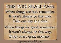 """This Too Shall Pass"" has been passed down from Mama Dean to me and to Suzanne and her children and yes we use it faithfully. It has carried us thru some very rough patches of life. If God brings you to it he will bring you thru it. Another one that is good!"
