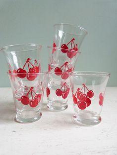 Vintage Libbey Juice Glasses Red Cherries