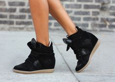 Isabel Marant sneakers. models off duty, fashion, wedge shoes, heel, street styles, isabel marant, sneaker wedges, wedge sneakers, black