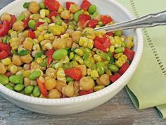 Chickpea, Corn, Edamame and Red Peppers with Honey-Lime Vinaigrette