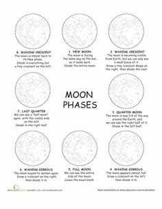 Worksheets: Identifying the Moon's Phases