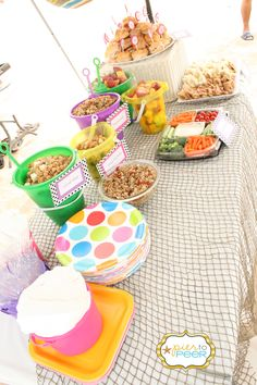Beach party food ideas - so cute! Love the pails and shovels.