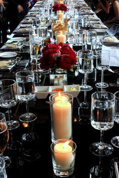 red, black and white wedding decor