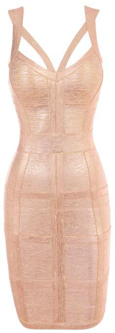 Clothing : Bandage Dresses : Danielle Rose Gold Bandage Dress