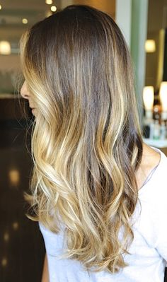 Natural-looking ombre hair colour #ombre #waves #pretty #blondehair