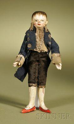"Early German gesso over wood gentleman doll, 5"""