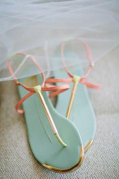 aqua and coral sandals, photo by Joielala http://ruffledblog.com/artsy-san-diego-wedding #weddingshoes #shoes