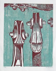 """Fiddleheads"" linocut by M Briana. http://www.etsy.com/uk/people/mbriana?ref=owner_profile_leftnav. Tags: Linocut, Cut, Print, Linoleum, Lino, Carving, Block, Woodcut, Helen Elstone, Musician, Violin, Viola, Instrument."