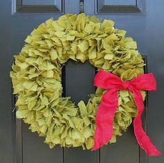 christmas wreaths, holiday wreaths, burlap wreaths, rag wreaths, christmas fabric, green, bathrooms, door, ribbon wreaths