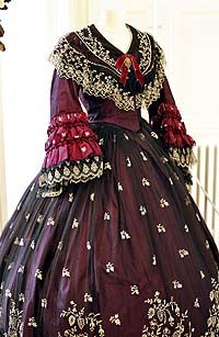 Burgundy evening dress, 1850's I love this!