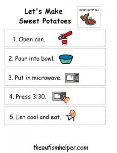 Visual Recipe for Sweet Potatoes! by theautismhelper.com
