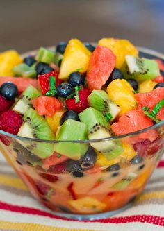Mixed Fruit with Lemon-Basil Dressing | Jo Cooks #fruit #salad