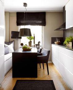 breakfast nook in a narrow Kitchen