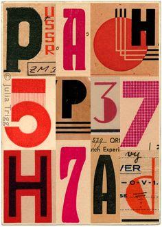 vintage ephemera, letter, vintage graphic, font, design interiors, julia trigg, collages, vintage type, print