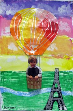 Child's photo in the art makes it so appealing to them AND their parents! Hot Air Balloons Over Paris = Cassie Stephens: In the Art Room: