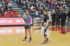 Getting ready for the Basketbowl contest at the Blackout basketball game with #TeamUCM