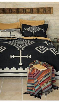 B/W ethnic bedspread
