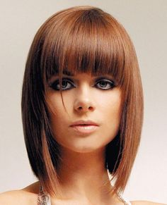 Long Inverted Bob with Bangs/Fringe Hair Cut
