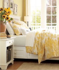 Sunshine yellow bedroom from pottery barn.  I also like the nightstand. PM could build that easily.