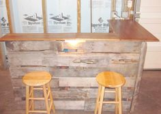 DIY Bar Made out of skids and old wood pieces, for basement or garage bar