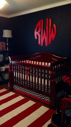 Crib bedding Baby Bedding Crib Set- nautical navy gotcha and red on Etsy, $275.00