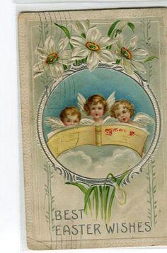 Vintage EASTER POSTCARD Easter Angel by sharonfostervintage, $1.50