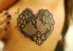 lace tattoo heart