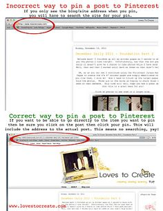 How to pin properly, let's spread the word. Lots of pin'ing going on that simply takes you to the Blog and not the post that the item is pinned from.  :)