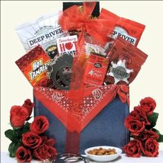 """""""Wild West"""" Valentine Gift Basket gift baskets, badges, valentine day, valentin gift, basket wild, valentine gifts, chocolate truffles, wild west, potato chips"""
