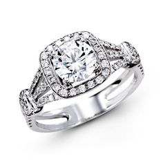 14k white gold diamond engagement ring. White gold engagement ring. Halo engagement ring. www.jensenjewelers.com