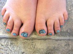 Cheetah Acrylic Toes! #Toes #cute #acrylic #nails #cheetah #blue @Sarah Chintomby Nielsen