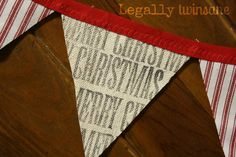 Bunting banner hand stamped red ticking Merry by LegallyTwinsane, $13.00