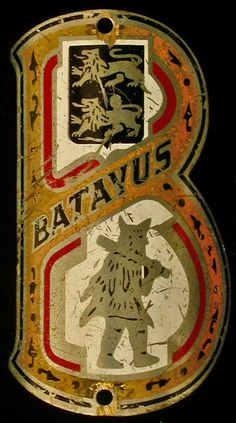 Vintage Dutch BATAVUS Bicycle Bike Head Badge Headbadge Emblem Plate | eBay