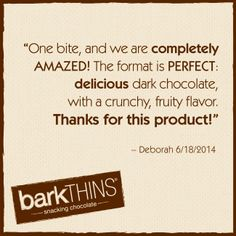 Question or Comment? Email us: info@ripplebrands.com. We LOVE to hear from you! #barkTHINS #snackingchocolate #seriouslygood #nongmo #fairtrade #darkchocolate #snack #dessert