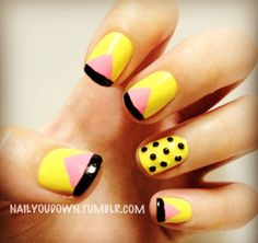 I never tried yellow nails before, but I like this design and color combination of yellow, pink, and black nail polish, pink nails, colors, nail arts, black nails, yellow nail, color combinations, pink lemonade, nails design yellow