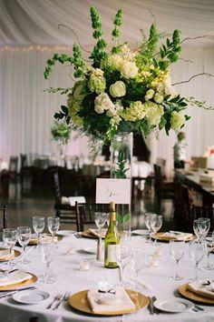 tall green + white centerpiece #wedding