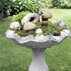 Make a Miniature Garden in a bird bath - cute idea!  ************************************************  BHG - #miniature #garden #fairy #whimsical #birdbath #bird #bath - tå√ garden planters, garden ideas, fairi garden, miniature gardens, bird baths, mini gardens, birds, fairy homes, miniature fairy gardens