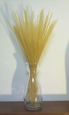 spaghetti flower in a bottle