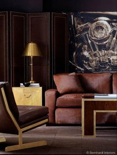 Classic Furniture   #masculine #brown #leather #brass   By Bernhardt Furniture  Photo courtesy of The Decorating Diva at #hpmkt