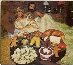 beds, furs, potato salads, breakfast in bed, dinner time, 1970s, breads, gingerbread, olives