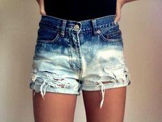 Bleach destroyed high waisted shorts