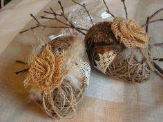 Handmade Large  Rustic  Easter Eggs set of 2 by Mydaisy2000, $24.00