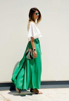 white top + green skirt.