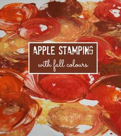 Fall colour apple stamping.  A gorgeous collage created with apples and fall paint colours. - happy hooligans