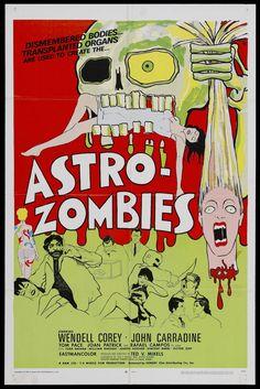 film, old movie posters, movi poster, vintage horror, old movies, astro zombi, gli astrozombi, horror movi, zombies