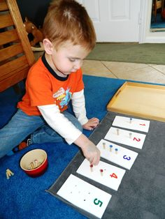 {Montessori on a Budget blog} Introduction to Numbers: DIY Peg Board Game